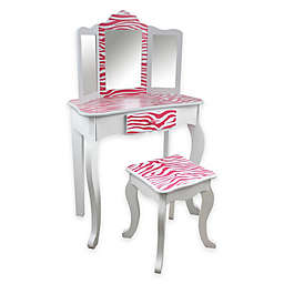 Teamson Kids Vanity Table and Stool Set in Pink Zebra