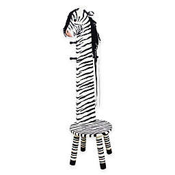 Teamson Kids Zebra Wooden Stool and Coat Tree