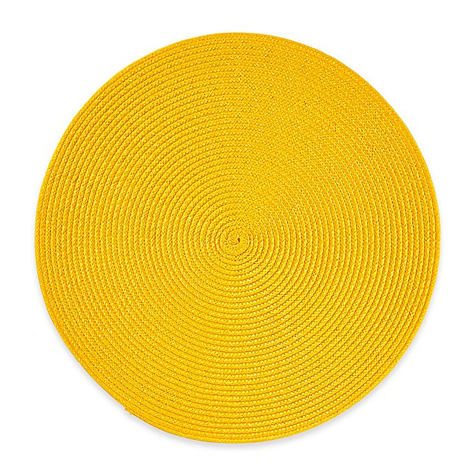Alternate image 1 for Indoor/Outdoor 15-Inch Round Placemat in Lemon Grass