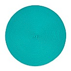 Indoor/Outdoor 15-Inch Round Placemat in Peacock Blue