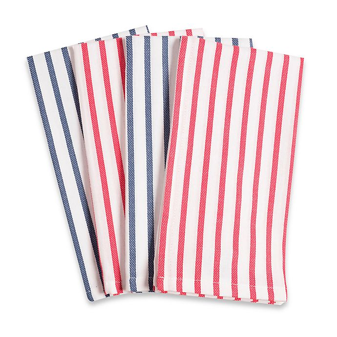 Alternate image 1 for Striped Fete Buffet Napkins in White (Set of 4)
