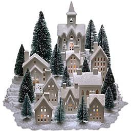 31-Piece Pre-Lit Porcelain Village in White