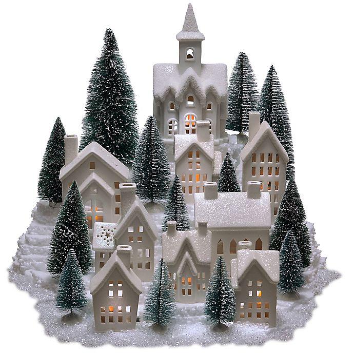 Alternate image 1 for 31-Piece Pre-Lit Porcelain Village in White