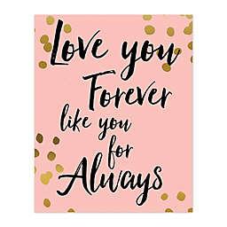 Love You Gold Polka Dots Canvas Wall Art