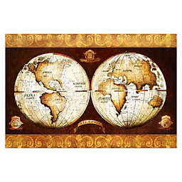 Pied Piper Creative Vintage World Map 36-Inch x 24-Inch Canvas Wall Art