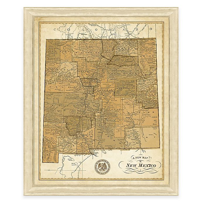 Alternate image 1 for Map of New Mexico Framed Print