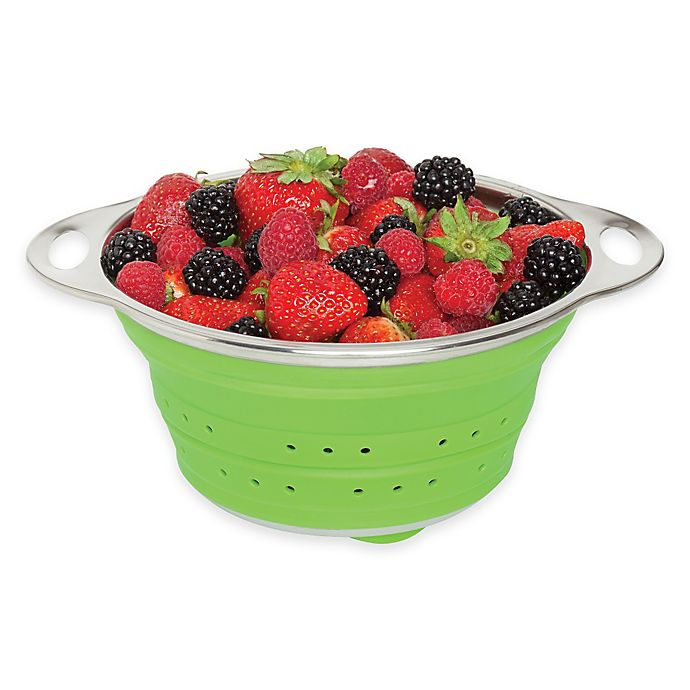 Alternate image 1 for Collapsible Silicone and Stainless Steel Colander