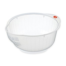 Inomata Japanese Rice Washing Bowl with Strainer, 2-Quart