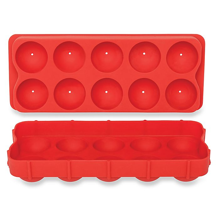Alternate image 1 for Cannonball Silicone Ice Ball Tray in Red