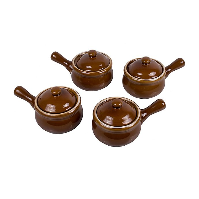 Alternate image 1 for French Onion Soup Crocks with Lids (Set of 4)