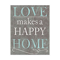 Love Makes a Happy Home 11-Inch x 14-Inch Canvas Wall Art
