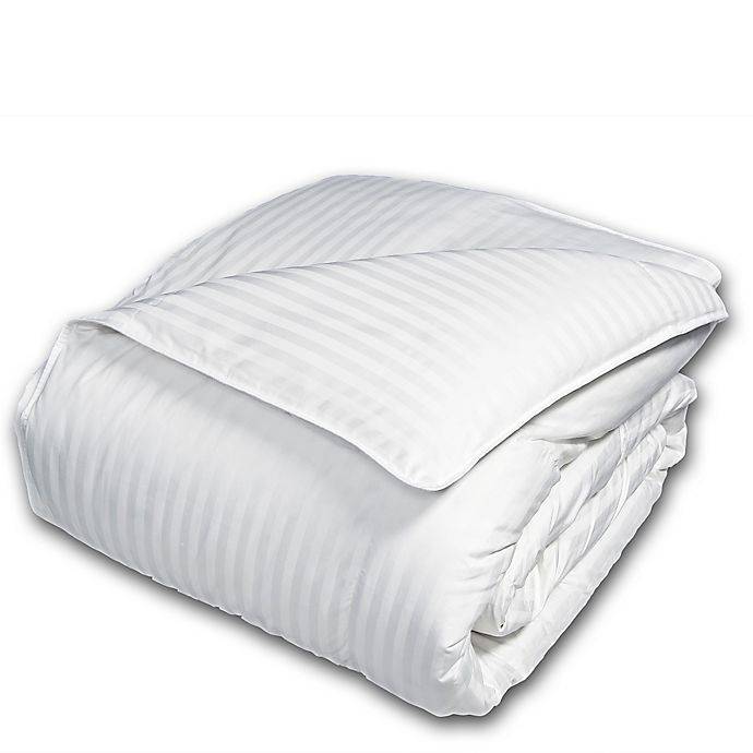 Alternate image 1 for The Seasons Collection® Cotton Light Warmth Down Twin Comforter with Damask Stripe