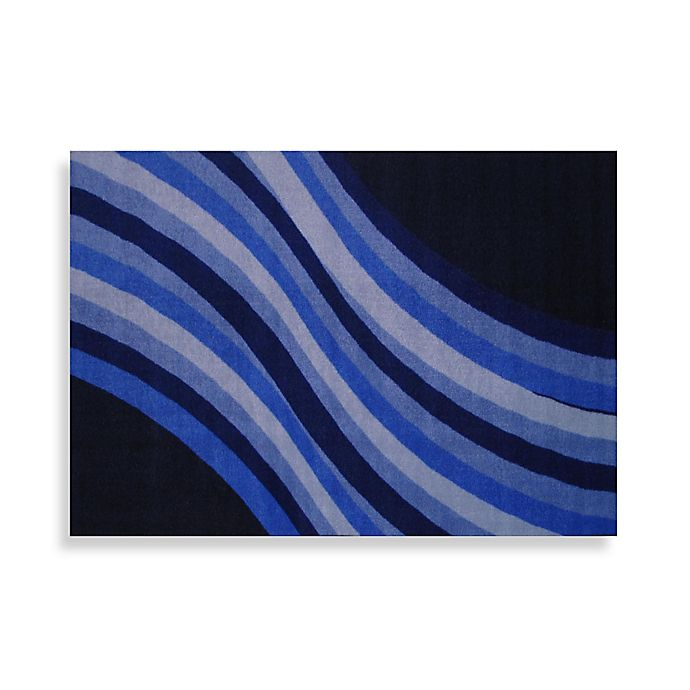 Fun Rugs Wacky Blue Wave Accent Rug