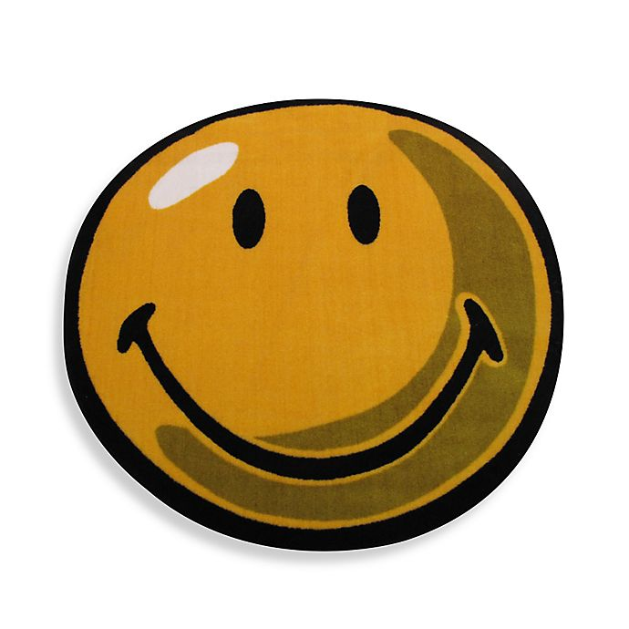 Alternate image 1 for Fun Rugs™ Smiley 3-Foot 3-Inch Round Rug in Yellow