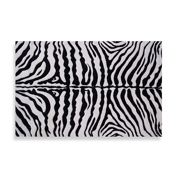 Alternate image 1 for Fun Rugs™ Zebra Skin 5-Foot 3-Inch x 7-Foot 6-Inch Rug in White/Black