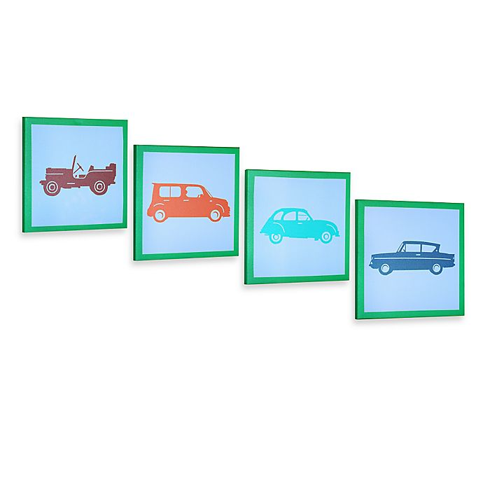 Alternate image 1 for Green Frog Vintage Cars Canvas Wall Art (Set of 4)