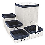 Redmon 5-Piece Hamper Set in White/Navy