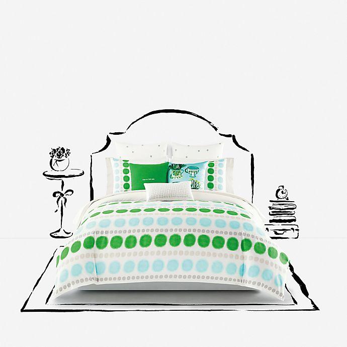 Alternate image 1 for kate spade new york Ikat Dot Comforter Set in Green