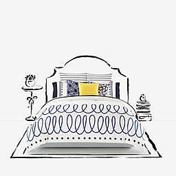 kate spade new york Charlotte Street Comforter Set in White/Navy