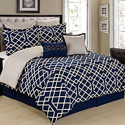 Cathay Home Demetri 8-Piece Reversible Comforter Set in Blue/Cream