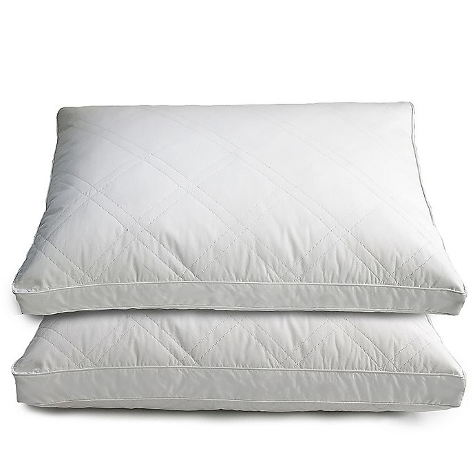 Quilted Goose And Feather Down Standard Pillow In White
