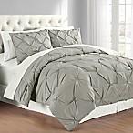 Pintuck Full/Queen Comforter Set in Grey