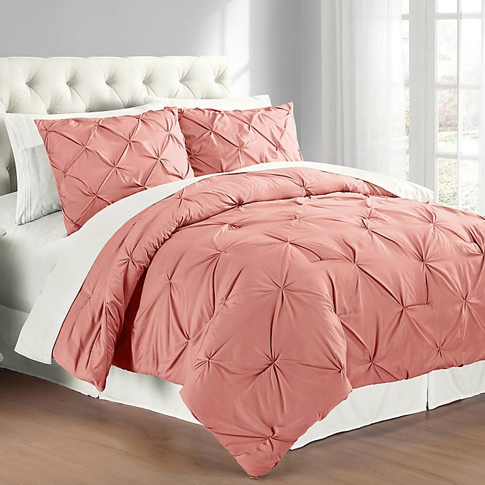 Buy Pintuck Full Queen Comforter Set In Coral From Bed