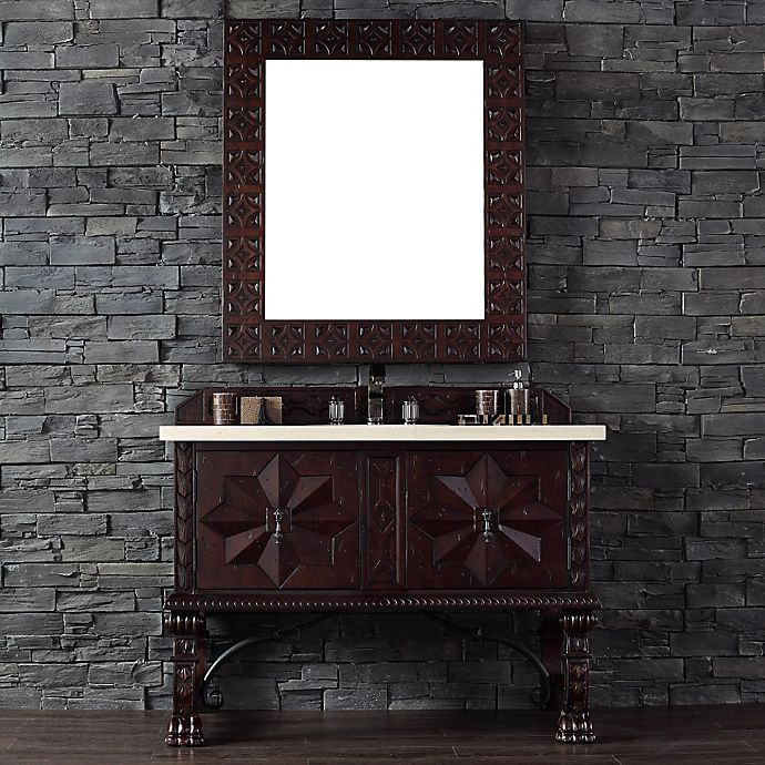 Alternate image 1 for Balmoral 48-Inch Antique Walnut Single Vanity with Double Doors and Galala Beige Stone Top