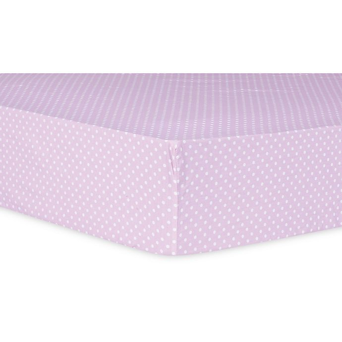 Alternate image 1 for Trend Lab® Orchid Bloom Dot Fitted Crib Sheet