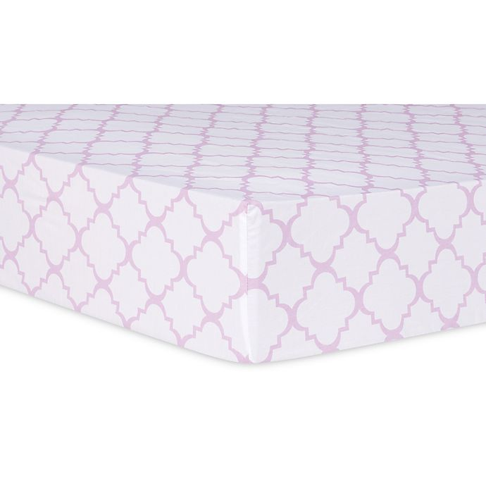 Alternate image 1 for Trend Lab® Orchid Bloom Quatrefoil Fitted Crib Sheet