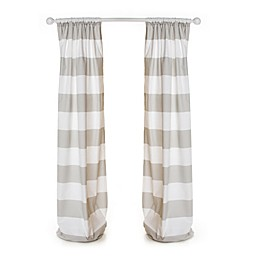 Glenna Jean Blossom 90-Inch Striped Window Panels in Grey/Tan (Set of 2)