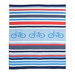 Weegoamigo Cycle Stripe Rayon Made from Bamboo/Cotton Knitted Baby Blanket in Blue