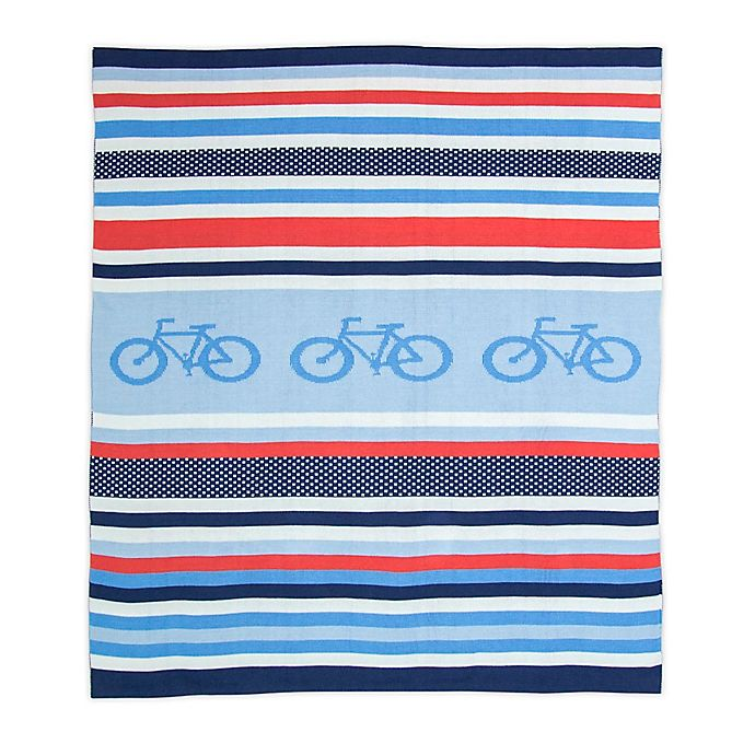 Alternate image 1 for Weegoamigo Cycle Stripe Rayon Made from Bamboo/Cotton Knitted Baby Blanket in Blue
