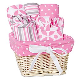 Trend Lab Lily 7-Piece Feeding Set Gift Basket in Pink