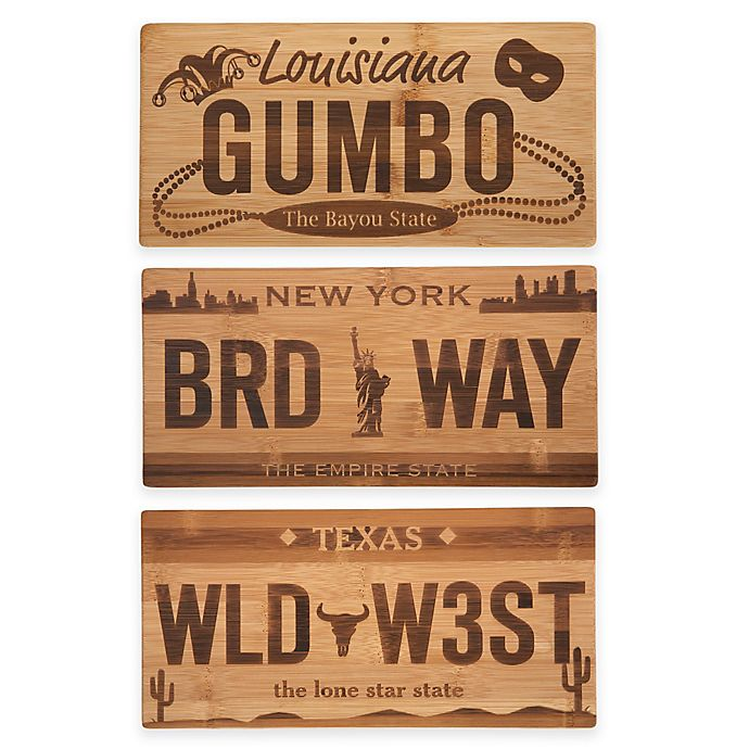 Alternate image 1 for License Plate Bamboo Cutting Board