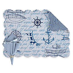 Fair Winds Quilted Placemats and Napkins in Blue/White