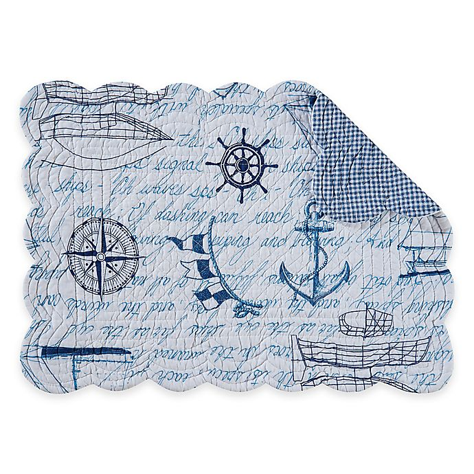 Alternate image 1 for Fair Winds Quilted Placemat in Blue/White