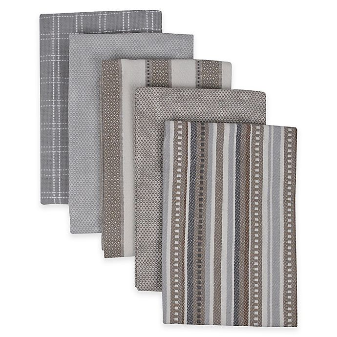Alternate image 1 for Performance 5-Pack Kitchen Towels in Grey