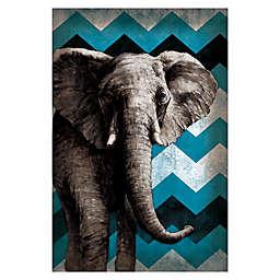 Pied Piper Creative Funky Blue Chevron Elephant 24-Inch x 36-Inch Canvas Wall Art