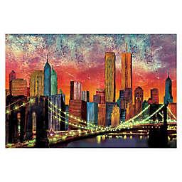 Pied Piper Creative New York Night Skyline 48-Inch x 32-Inch Canvas Wall Art