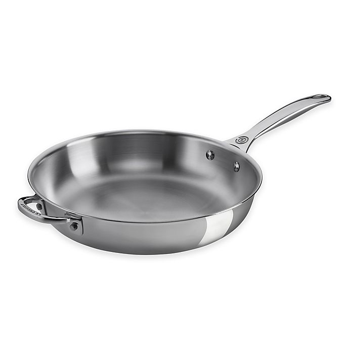 Alternate image 1 for Le Creuset® Tri-Ply Stainless Steel 11-Inch Deep Fry Pan with Helper Handle