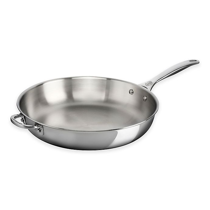 Alternate image 1 for Le Creuset® Tri-Ply Stainless Steel 12.5-Inch Deep Fry Pan with Helper Handle
