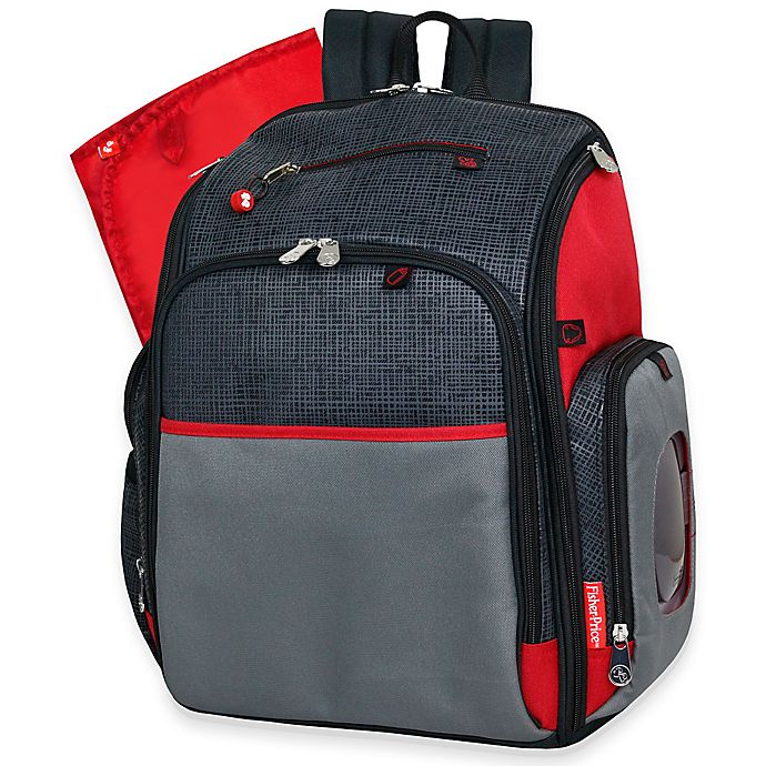 Alternate image 1 for Fisher-Price® Deluxe FastFinder™ Backpack Diaper Bag in Black