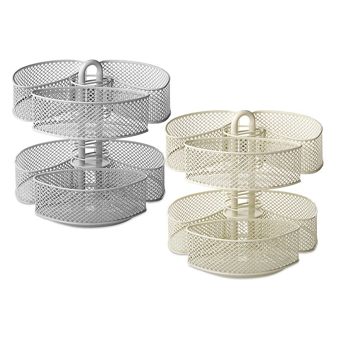 Alternate image 1 for Mesh Cosmetic Organizer Carousel with Removable Baskets