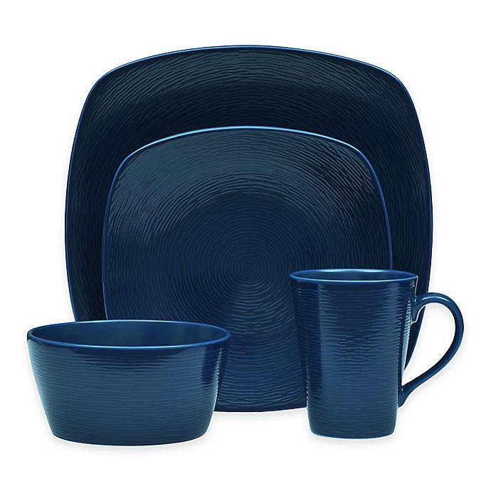Alternate image 1 for Noritake® Navy on Navy Swirl Square Dinnerware Collection