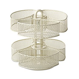 Mesh Cosmetic Organizer Carousel with Removable Baskets