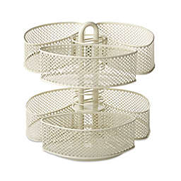Mesh Cosmetic Organizer Carousel with Removable Baskets in Cream
