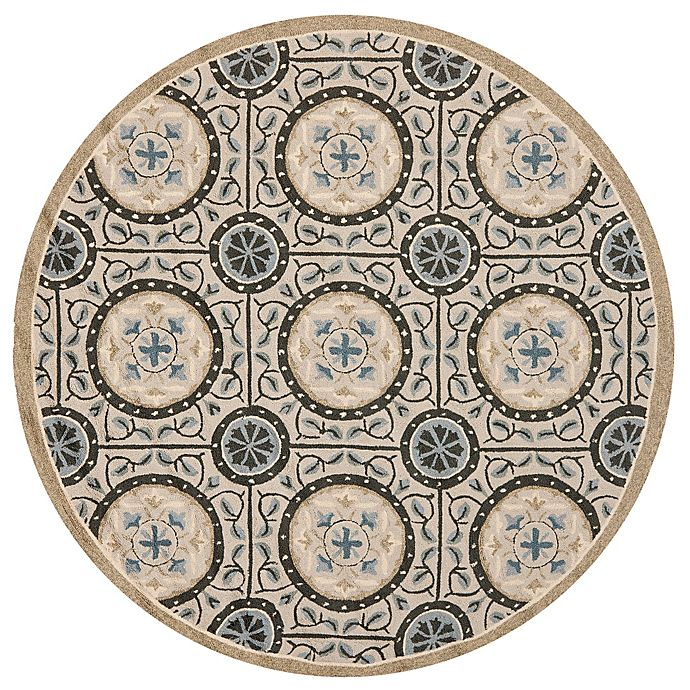 Alternate image 1 for Safavieh Four Seasons Medallion 4-Foot Round Accent Rug in Grey/Blue