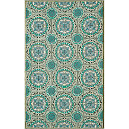 Safavieh Four Seasons Medallion 3-Foot 6-Inch x 5-Foot 6-Inch Area Rug in Aqua/Multi