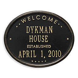 Whitehall Products Oval Welcome House Plaque with Black/Gold Finish